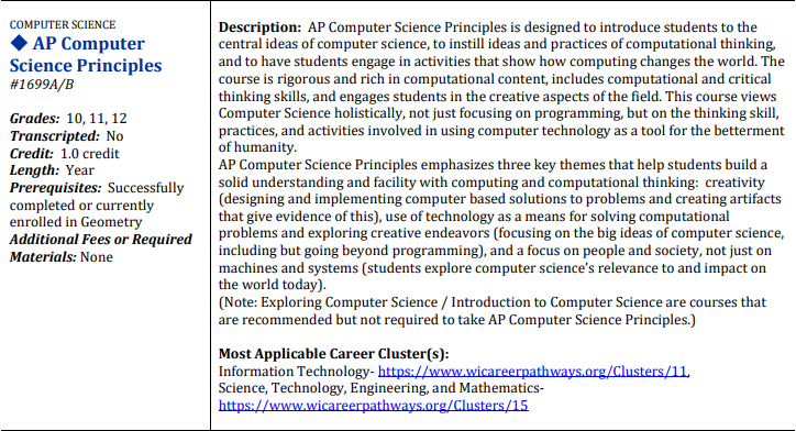 AP Computer Science Principles Course