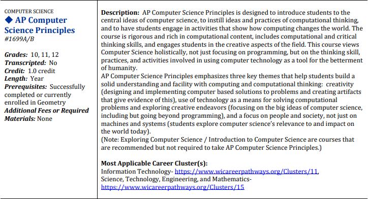 AP Computer Science Principles Course