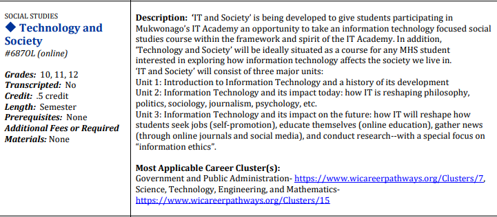 Technology and Society Course